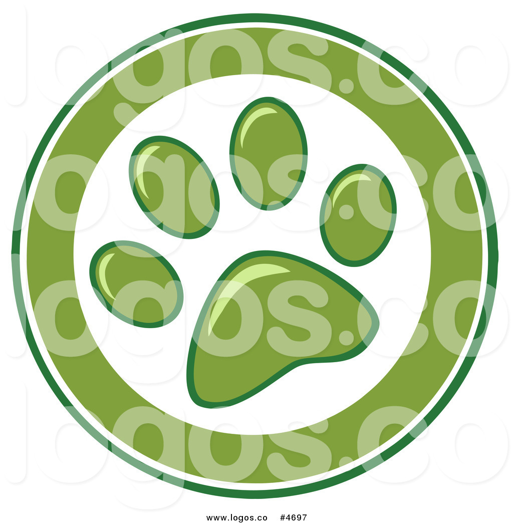 Royalty Free Logo Of A Green And White Paw Print Circle By Hit Toon