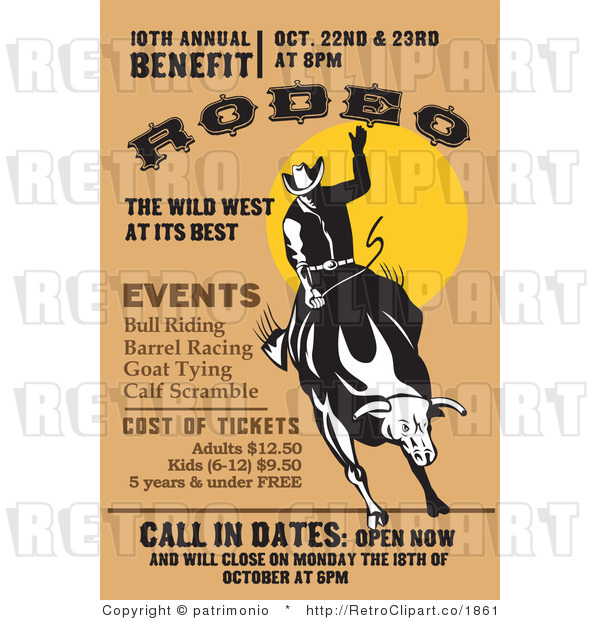 Royalty Free  Rf  Retro Clipart Illustration Of Rodeo Sign  This Rodeo