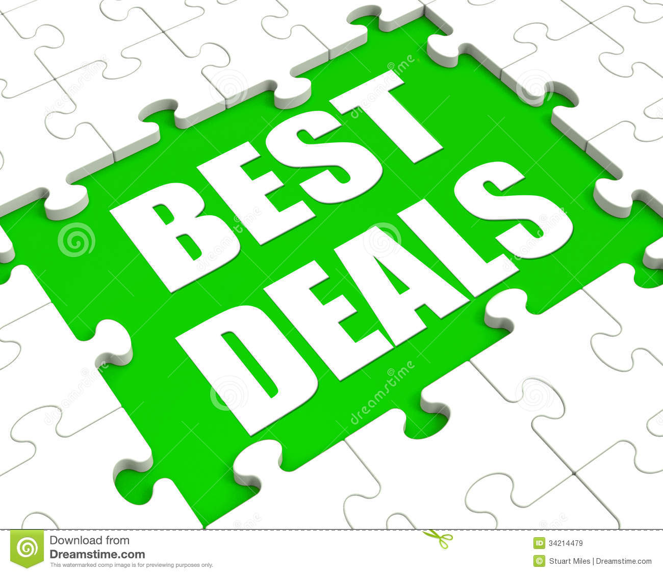 Stock Images  Best Deals Puzzle Shows Great Deal Promotion Or Bargain