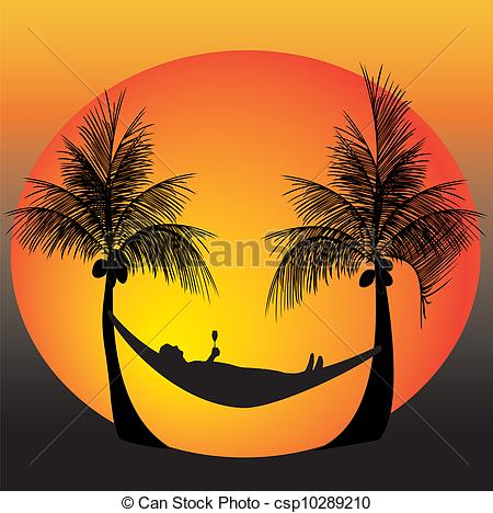 Vector Clip Art Of Relax On A Hammock   Relaxing On A Hammock In