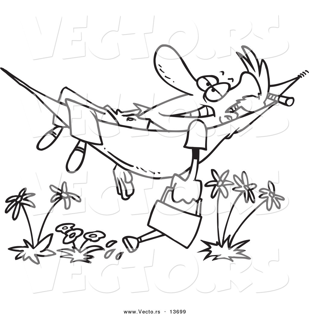 Vector Of A Cartoon Happy Man Relaxing In A Hammock And Watering