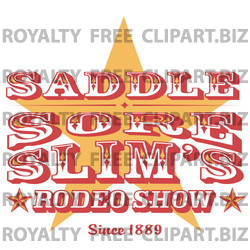 Vintage Rodeo Sign With A Star Clipart Illustration   Image 14829 By
