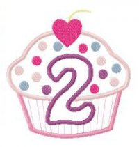 2nd Birthday Cup Cake Applique Design 2nd Birthday Cup Cake Embroidery