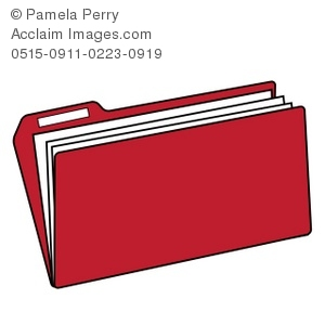 Clip Art Illustration Of A Red File Folder   Acclaim Stock Photography
