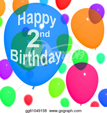 Clip Art   Multicolored Balloons Are For Celebrating A 2nd Or Second