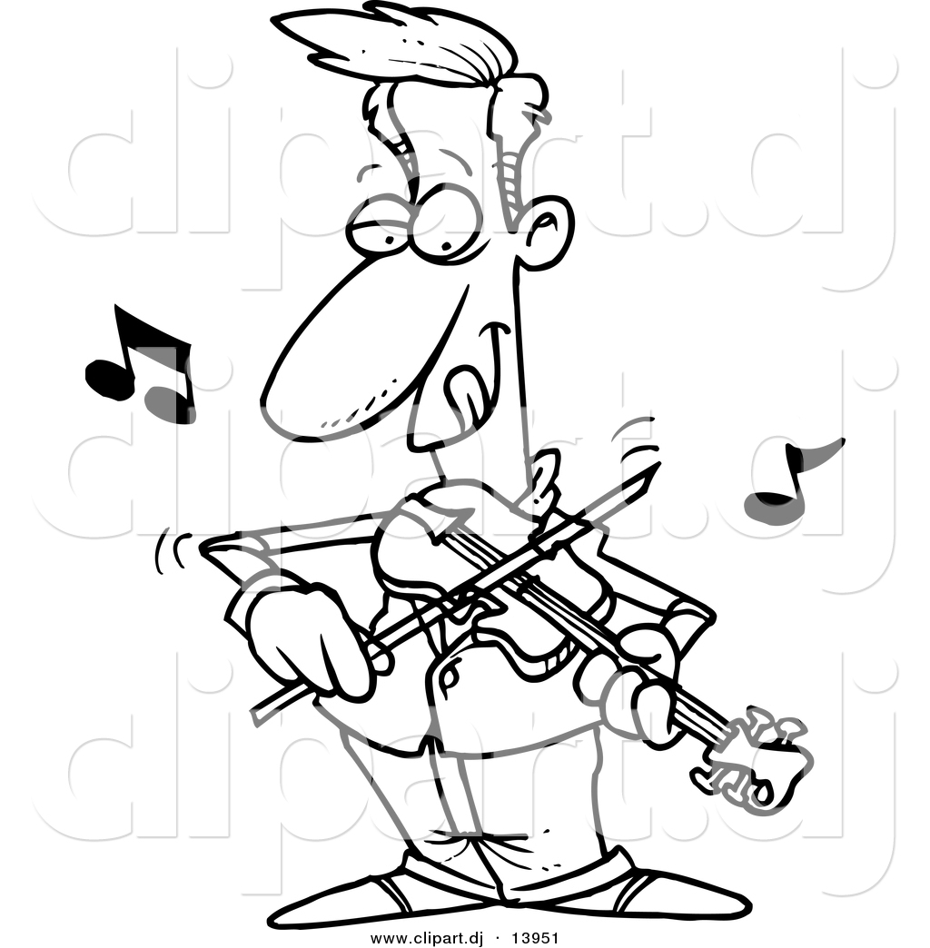 Confident Guy Playing Violin Coloring Page Outline Black And White