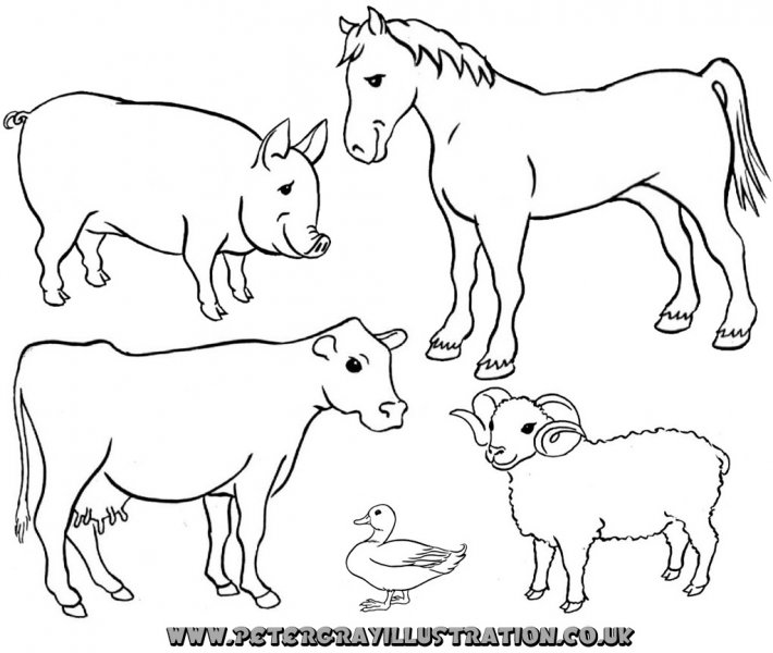 Farm Animals Black And White Clipart - Clipart Kid