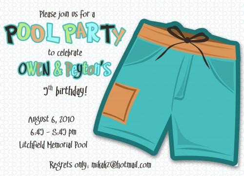 Pool Birthday Clipart Clipart Kid – Pool Birthday Party Invitations