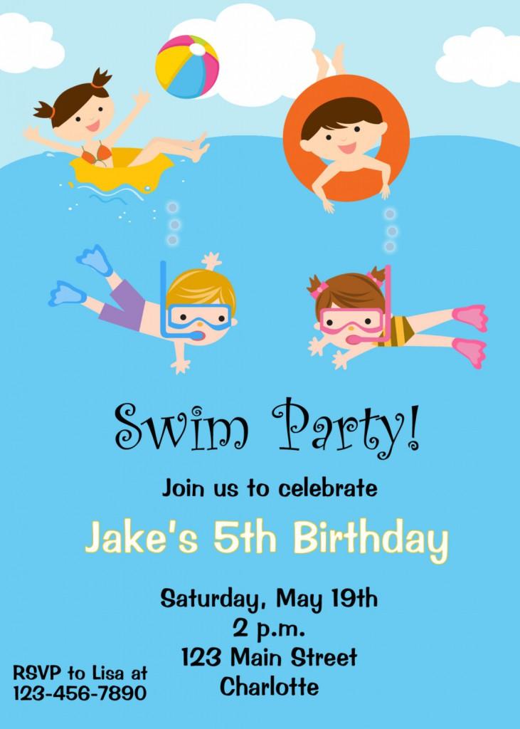 Birthday Party Swim Clipart Clipart Kid – Pool Birthday Party Invitations