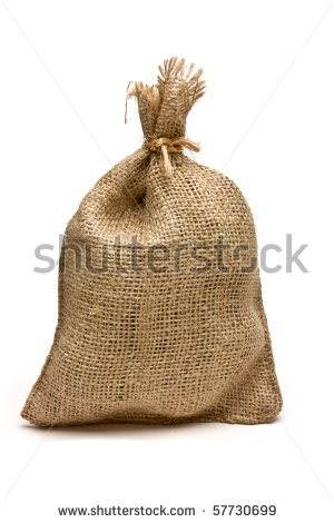 Hessian Sack Tied With String From Low Perspective Isolated Against