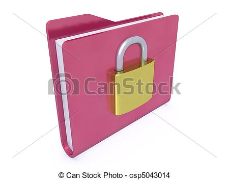 Red Folder Paper Icon And Padlock Closed On White Background