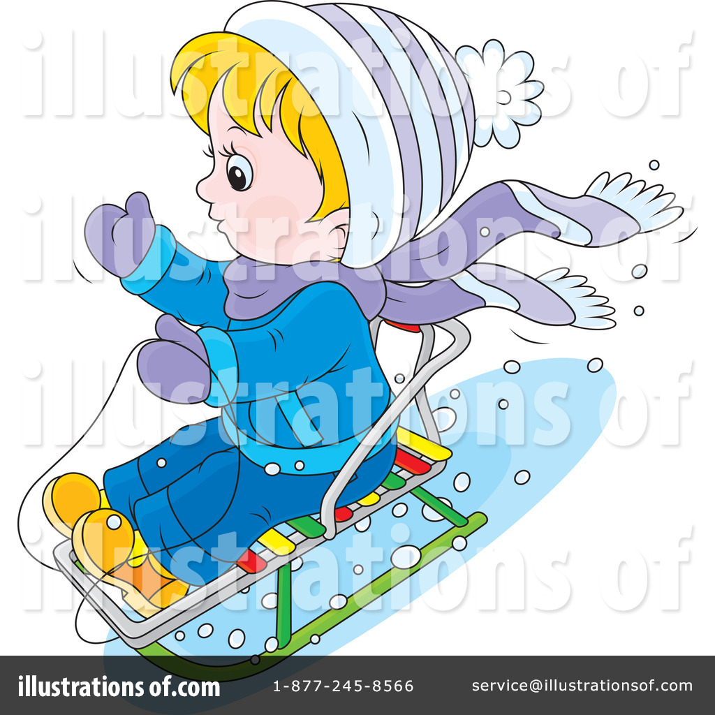 Sledding Clipart  1226306 By Alex Bannykh   Royalty Free  Rf  Stock