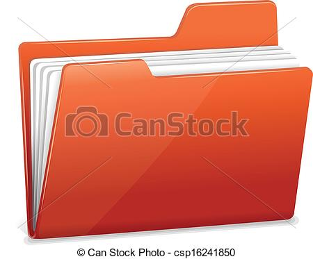 Vector   Red File Folder With Documents   Stock Illustration Royalty