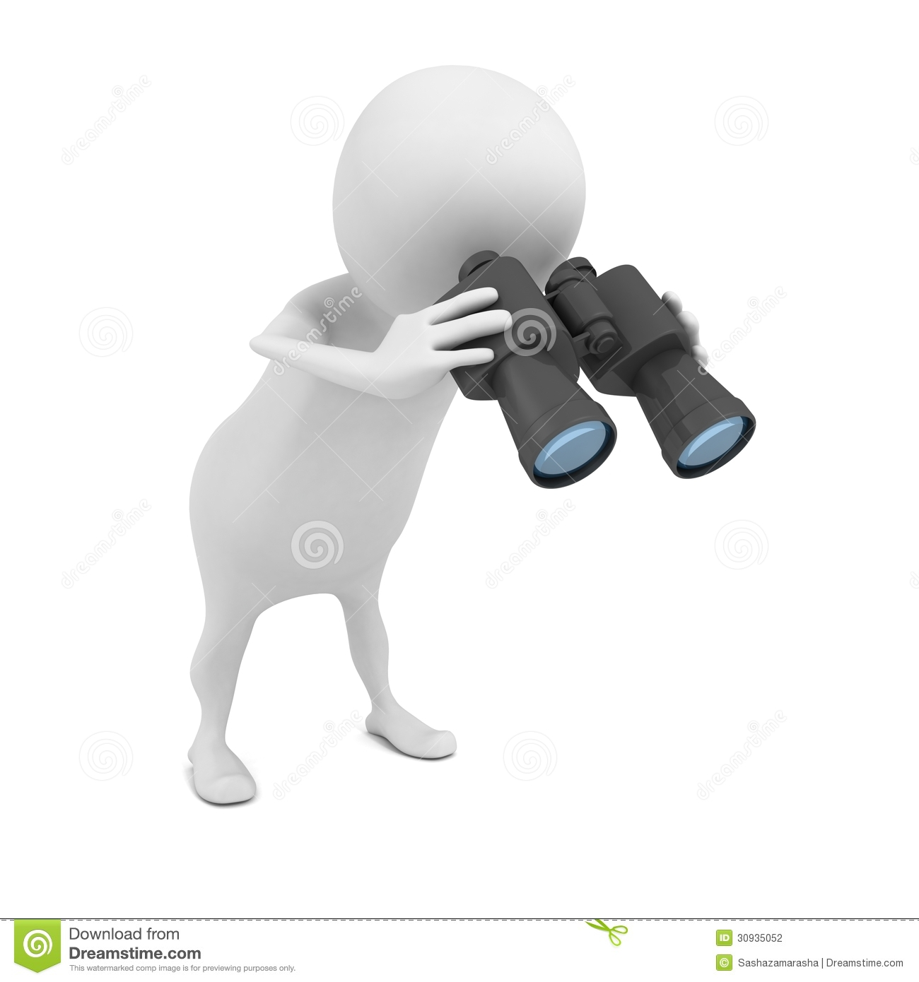 White 3d Man Looking Down Through Binoculars Stock Photography   Image