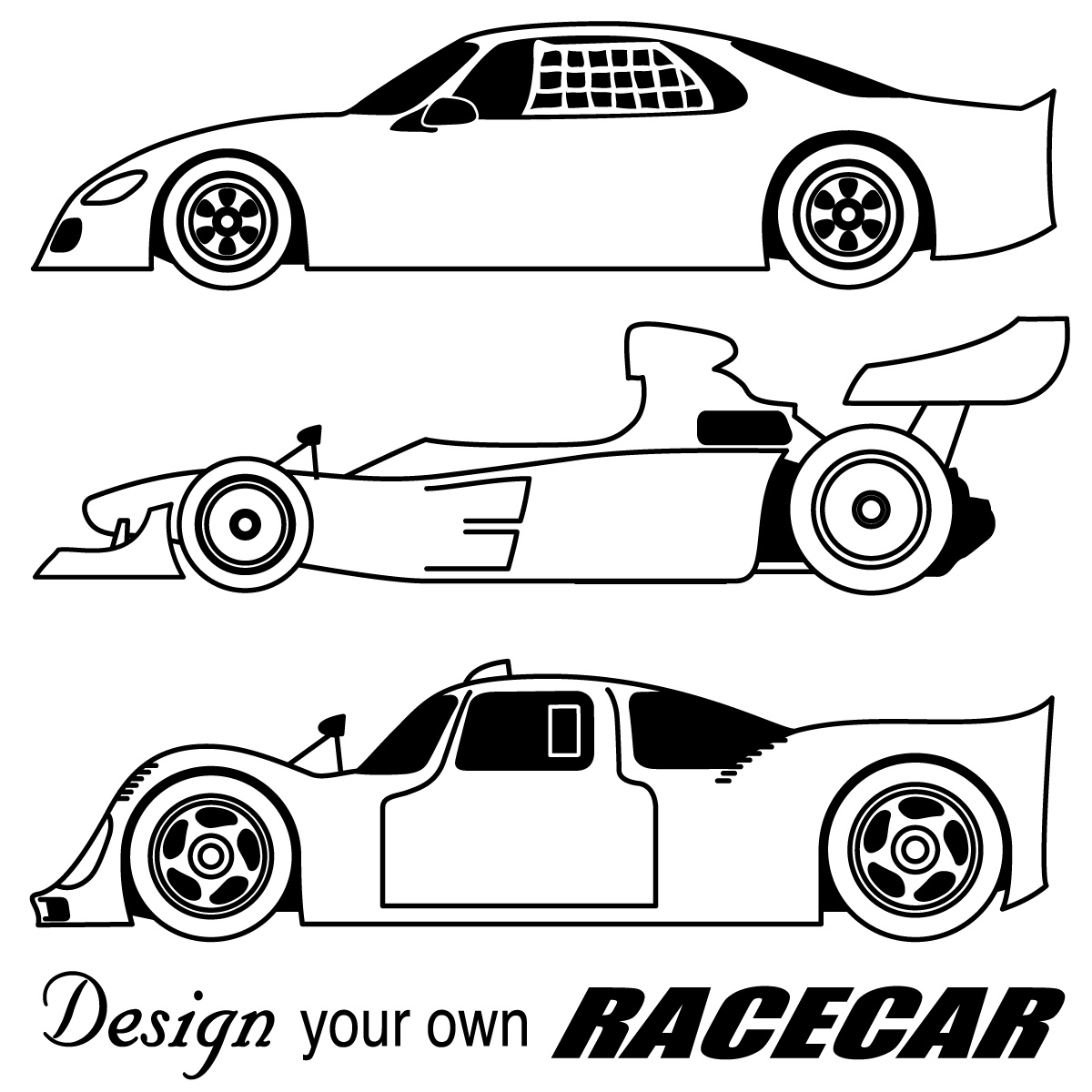 Black And White Clip Art  Race Car Clipart