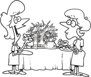 Black And White Coloring Page Of Two Women Eating Appetizers Clip Art