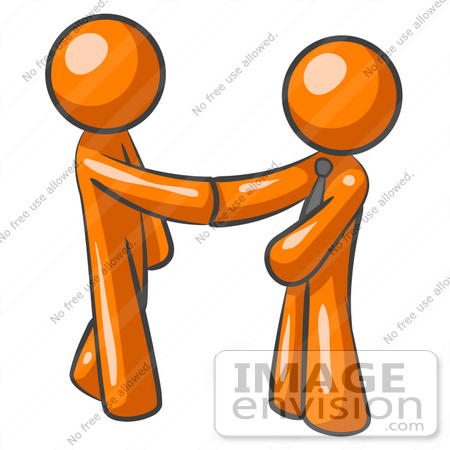 Clip Art Graphic Of Orange Guy Characters Shaking Hands At The Office