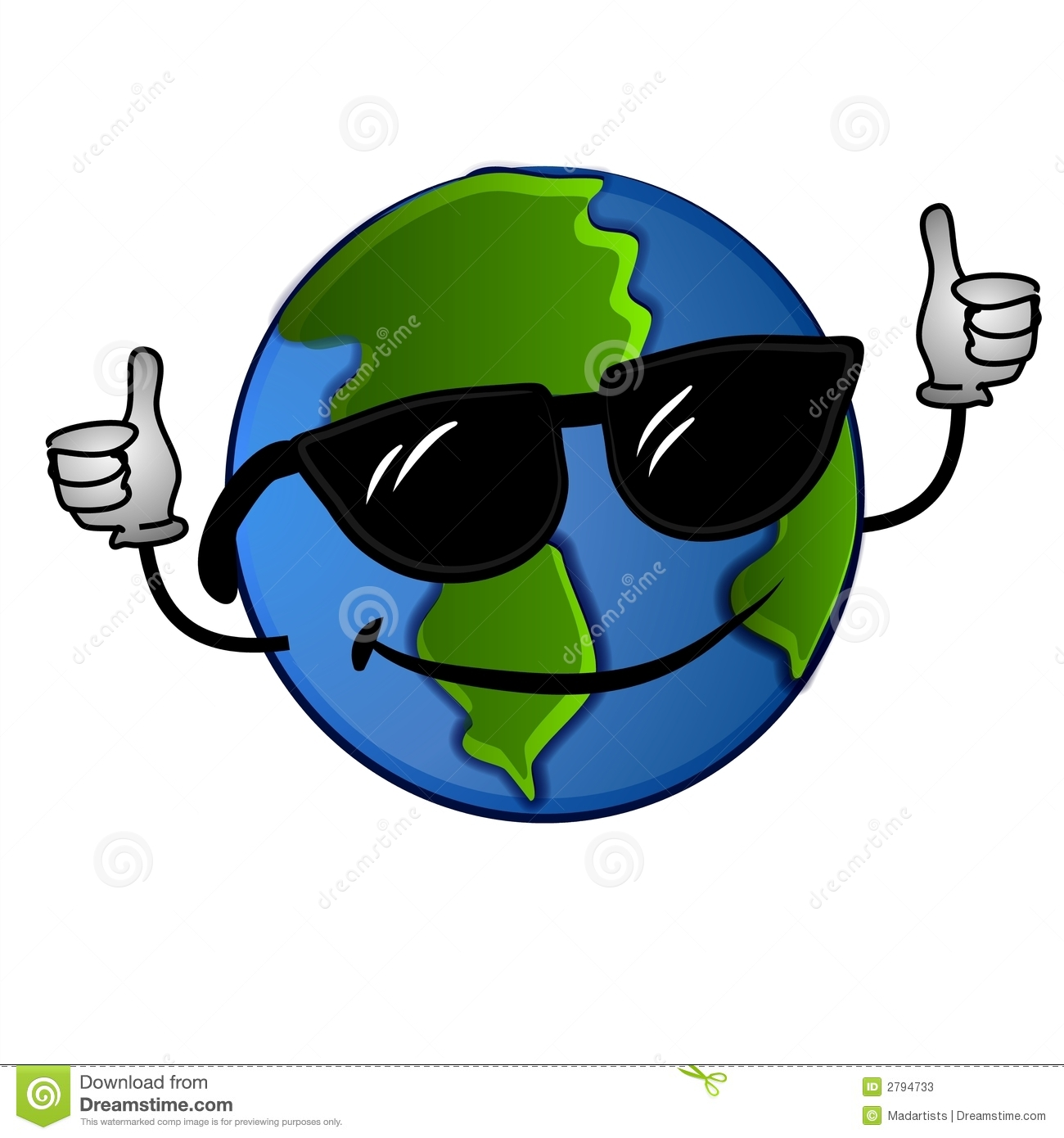 Clip Art Illustration Of A Cool Looking Planet Earth Wearing
