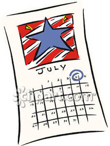 July Calendar Clipart - Clipart Kid