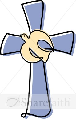 Lavendar Cross With A Dove Clipart   Cross Clipart
