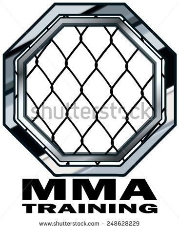 Mma Training Cage Octagon Sign Vector Illustration Isolated On White