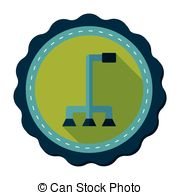 Walking Stick Flat Icon With Long Shadow Stock Illustration