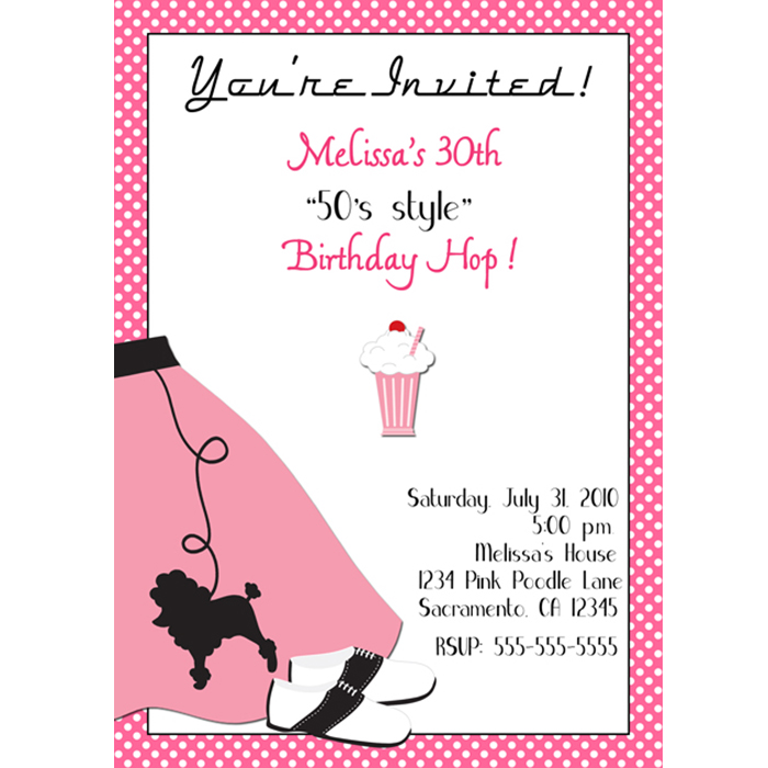 1950 S Poodle Skirt Sock Hop Party Invitation