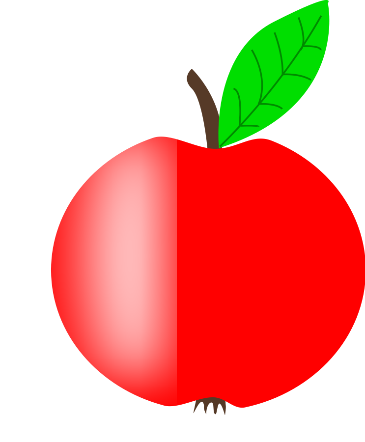 Apple Red With A Green Leaf Clip Art