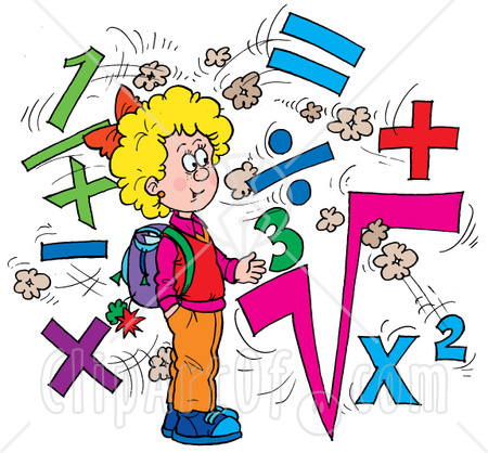 Clipart Illustration Of A Smart School Girl Surrounded By Math
