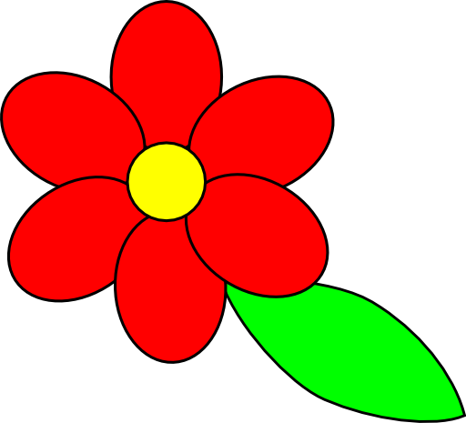 Flower Six Red Petals Black Outline Green Leaf Clipart   Royalty Free