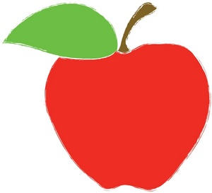School Clipart Image   Clip Art Image Of A Red Apple With A Green Leaf