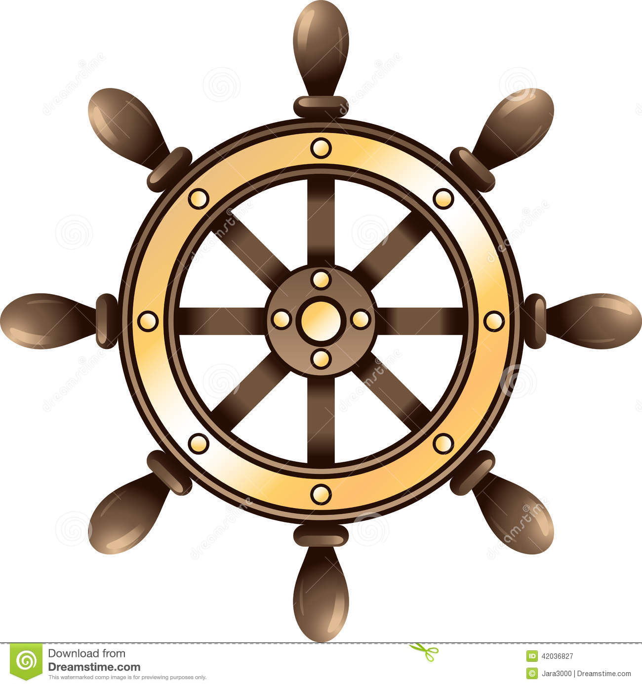 Ship Steering Wheel  Vector Illustration On White Background