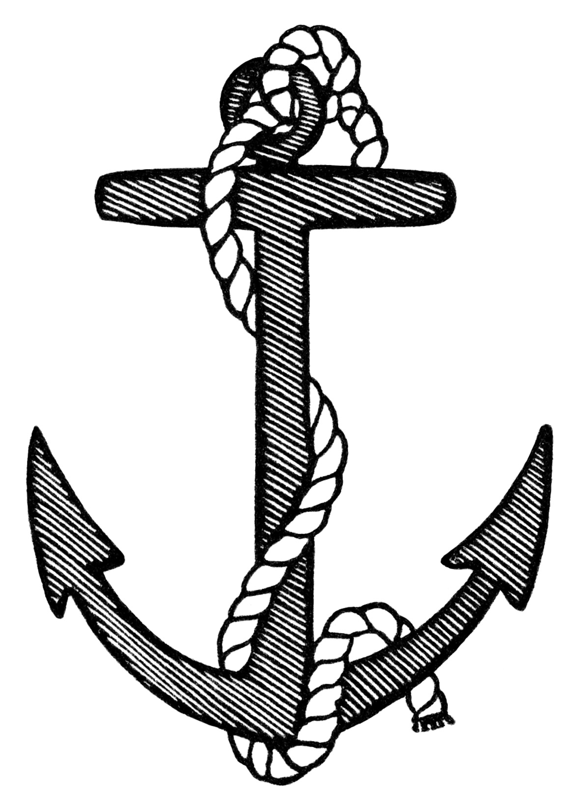 Anchor Clip Art Black And White Clipart Free Vintage Anchor Image