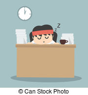 Businessman Falling Asleep Vector Clipart