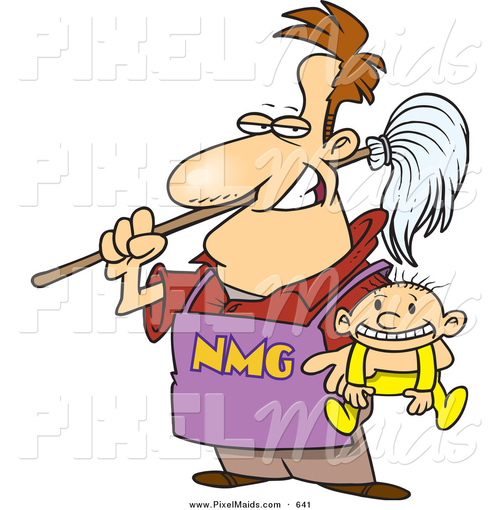 Clipart Of A Cartoon Stay At Home Dad Holding A Baby And A Broom By