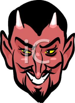 Devil With Glowing Yellow Eyes   Royalty Free Clipart Picture