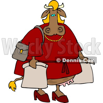 Female Cow On A Shopping Spree Clipart   Dennis Cox  4538