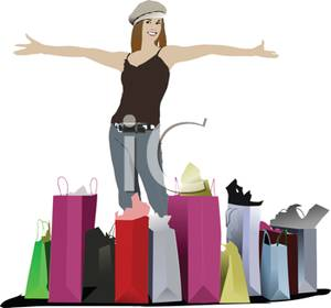 Loaded With Bags From A Shopping Spree   Royalty Free Clipart Picture