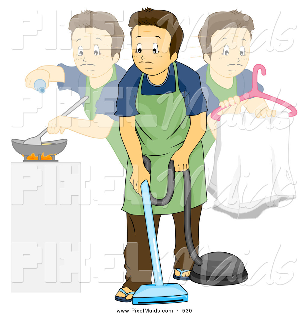 Royalty Free Stay At Home Dad Stock Maid Clipart Illustrations