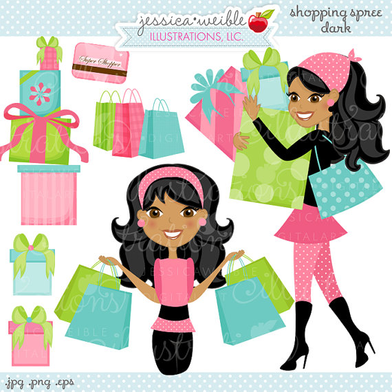 Shopping Spree Dark Cute Digital Clipart Commercial Use Ok Woman