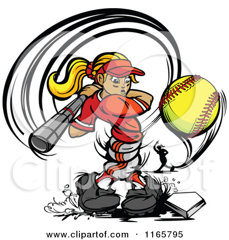 Strong Female Baseball Player Swinging And Hitting A Softbal    By