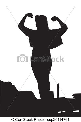 Strong Powerful Girl Showing Her Muscles Csp20114761   Search Clipart