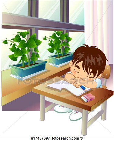Student Fell Asleep Over Homework  Fotosearch   Search Eps Clipart