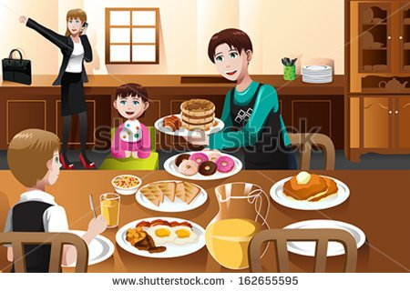Vector Illustration Of A Stay At Home Father Eating Breakfast With