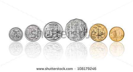 10 Cents 20 Cents 50 Cents 1 Dollar And 2 Dollars   Stock Photo