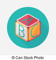 Abc Blocks Flat Icon With Long Shadoweps 10 Vector Clip Art