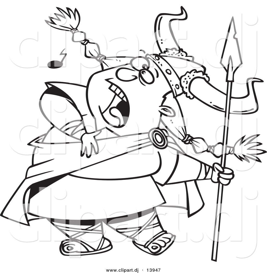 Cartoon Vector Clipart Of A Female Viking Singing A Song While Holding