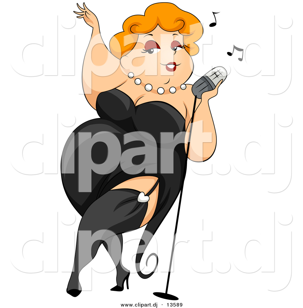 Cartoon Vector Clipart Of A Sexy Obese Girl Wearing Black Dress While