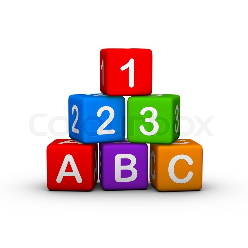Educational Toy Blocks With Letters And Numbers   Stock Photo