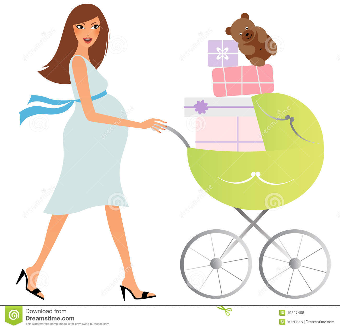 Happy Pregnant Woman With Carriage Royalty Free Stock Photos   Image